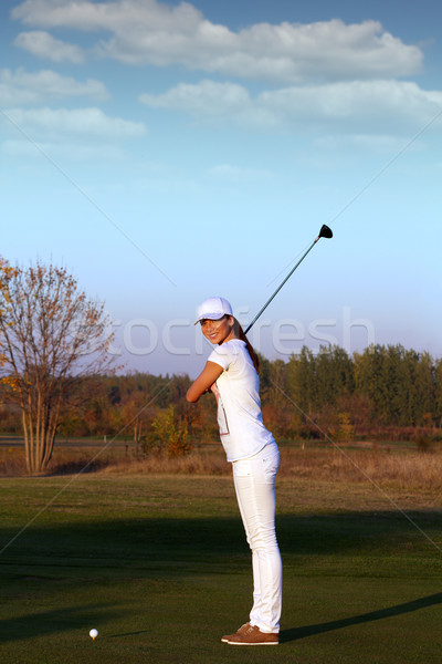 girl golfer ready for shot Stock photo © goce