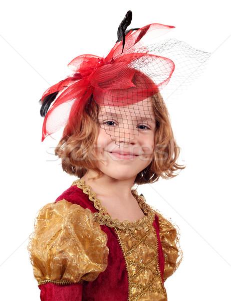 Schönen kleines Mädchen Schleier Porträt Kind Spaß Stock foto © goce