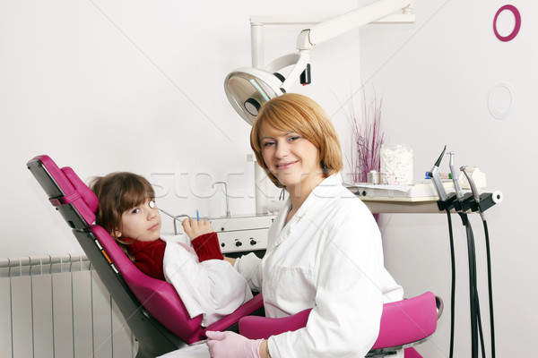 little girl and female dentist in dental practice Stock photo © goce