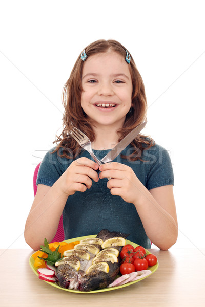 Stock fotó: Boldog · kislány · előkészített · hal · asztal · mosoly