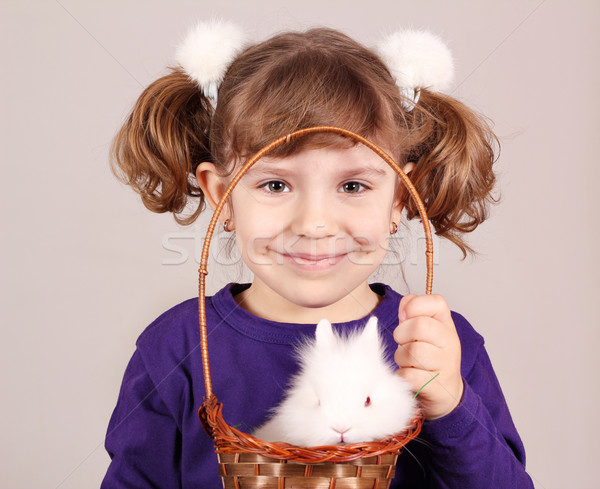 little girl with dwarf bunny pet Stock photo © goce