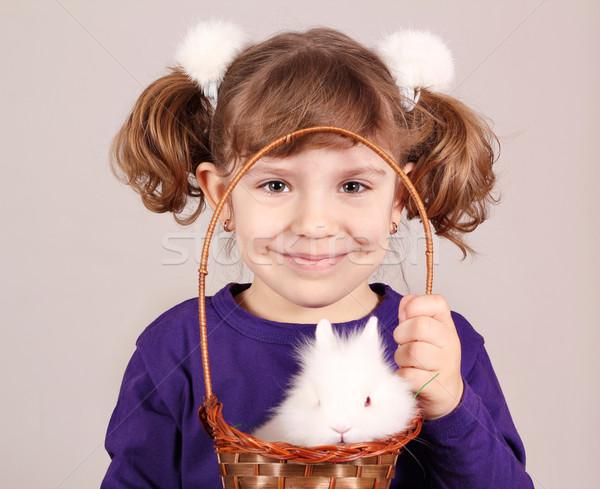 Bambina nano coniglio pet bambino bellezza Foto d'archivio © goce