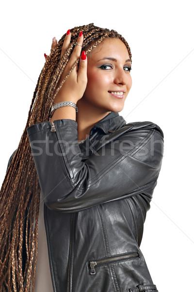 beautiful girl with dreadlocks hair portrait Stock photo © goce