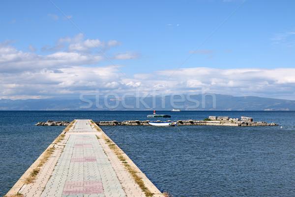 Pier meer Macedonië zomer seizoen natuur Stockfoto © goce