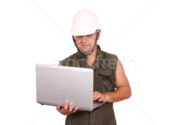 oil worker with laptop Stock photo © goce
