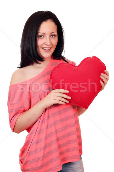 Stockfoto: Tienermeisje · groot · Rood · hart · vrouw