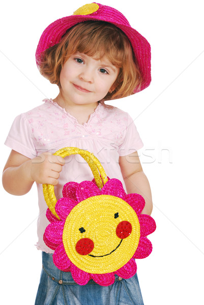 little girl with red straw hat and bag Stock photo © goce