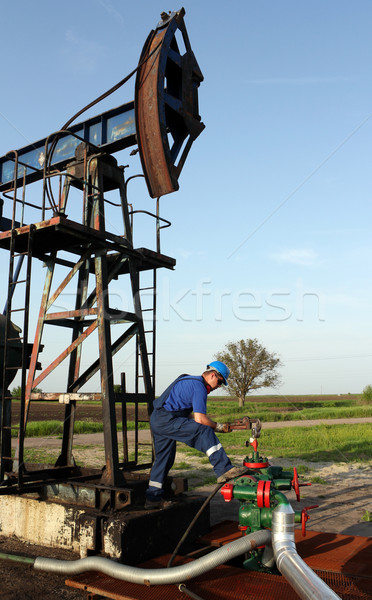 oil worker with pipe wrench and pipeline Stock photo © goce