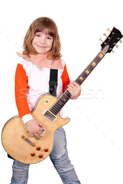 девочку рокер электрической гитаре ребенка красоту рок Сток-фото © goce