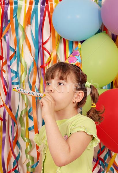 Feliz little girl balões trombeta aniversário festa Foto stock © goce
