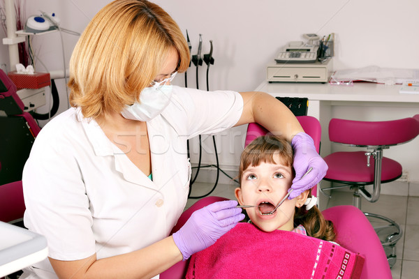 child patient and female dentist Stock photo © goce