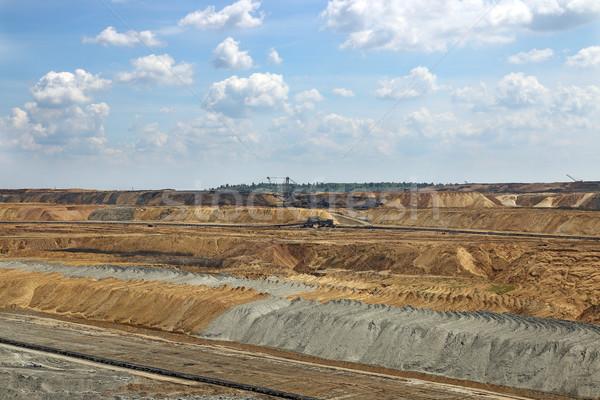 Nyitva szén bánya bányászat ipar égbolt Stock fotó © goce
