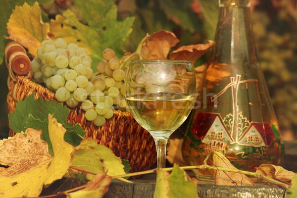 Witte wijn druif blad glas groene Stockfoto © goce