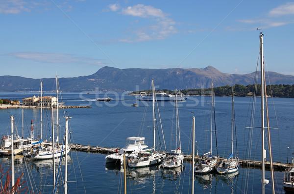 Veleiros balsa barco ilha Grécia água Foto stock © goce