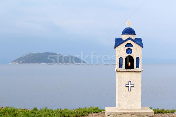 Ortodossa piccolo chiesa santuario Grecia cielo Foto d'archivio © goce