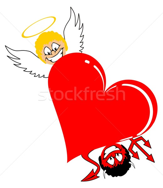 Stock photo: heart with angel and devil