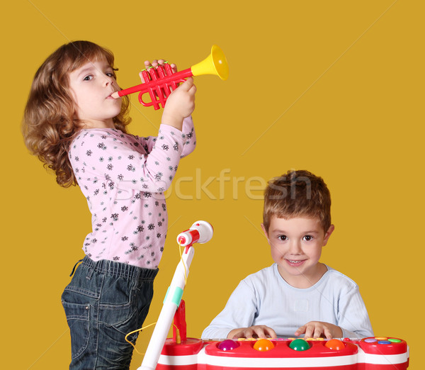 boy and little girl play music Stock photo © goce