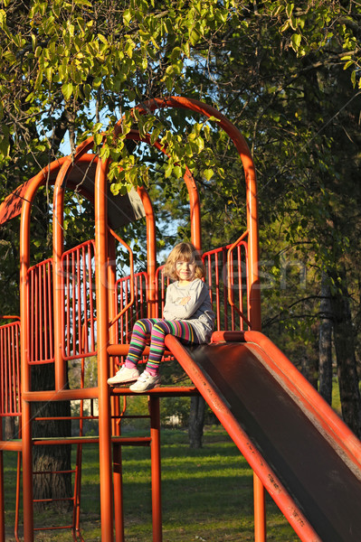 Kislány játszótér csúszda mosoly boldog gyermek Stock fotó © goce