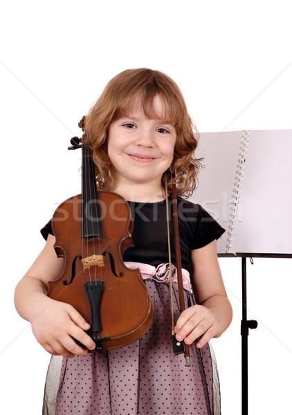 Stock fotó: Gyönyörű · kislány · hegedű · portré · fehér · gyermek