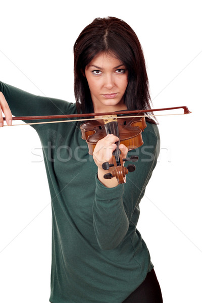 Stock photo: beautiful girl play violin portrait on white background