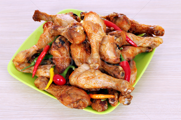 baked chicken drumsticks on plate Stock photo © goce