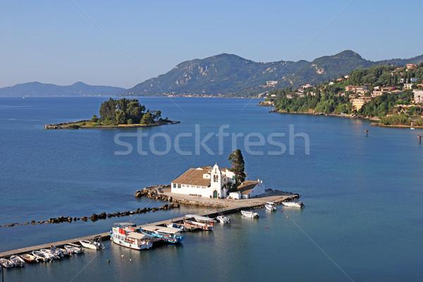 Monasterio isla agua mar azul arquitectura Foto stock © goce
