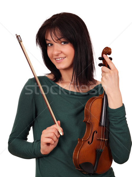 Stock photo: beautiful girl with violin portrait