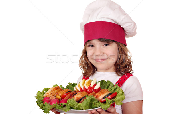 little girl cook with gourmet food portrait Stock photo © goce