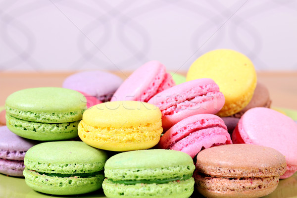 sweet colorful macaroons close up Stock photo © goce