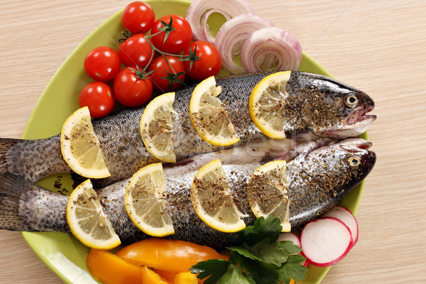 trout fish with vegetables on plate Stock photo © goce