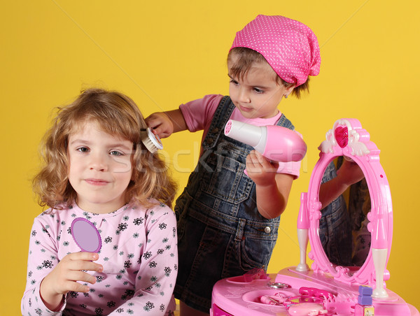little girls play hairdressers Stock photo © goce