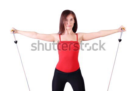 girl exercise with weights Stock photo © goce