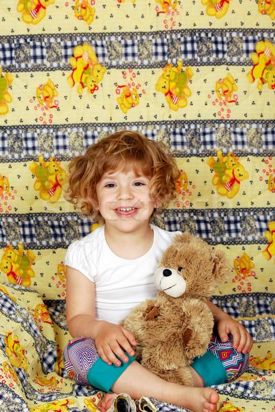 happy little girl bedtime Stock photo © goce