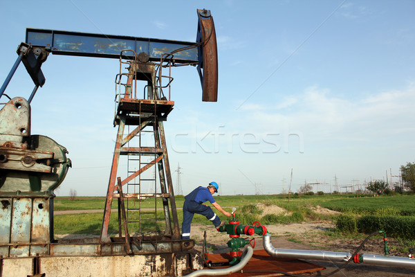 oil worker check pump jack pipeline Stock photo © goce