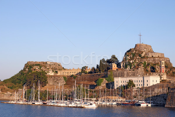 old fortress and port with boats Corfu town Greece Stock photo © goce