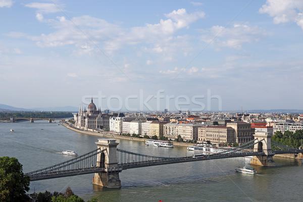 Catena ponte danubio fiume Budapest cityscape Foto d'archivio © goce