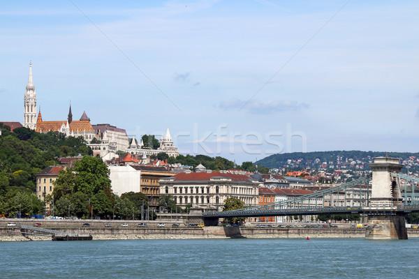 Fisherman towers and Chain bridge Budapest Stock photo © goce