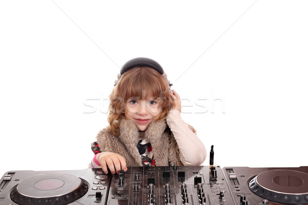 little girl dj with turntables Stock photo © goce