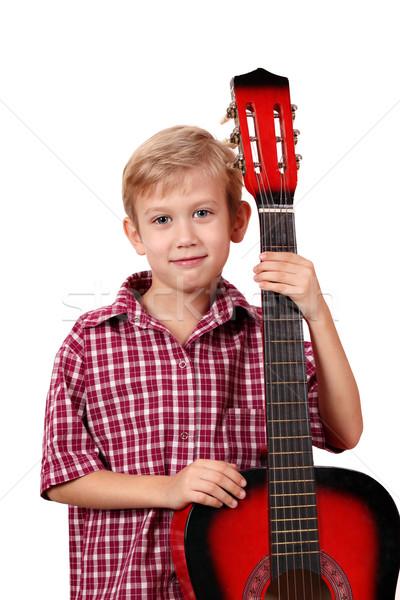 Fiú pózol gitár gyermek gyerek hang Stock fotó © goce