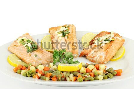 seafood salmon portion and vegetables Stock photo © goce