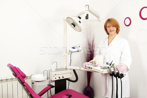 female dentist in dental office Stock photo © goce