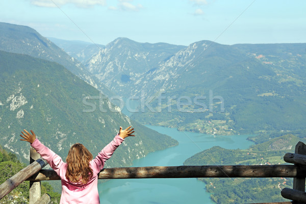 little girl with hands up on Tara mountain viewpoint Stock photo © goce