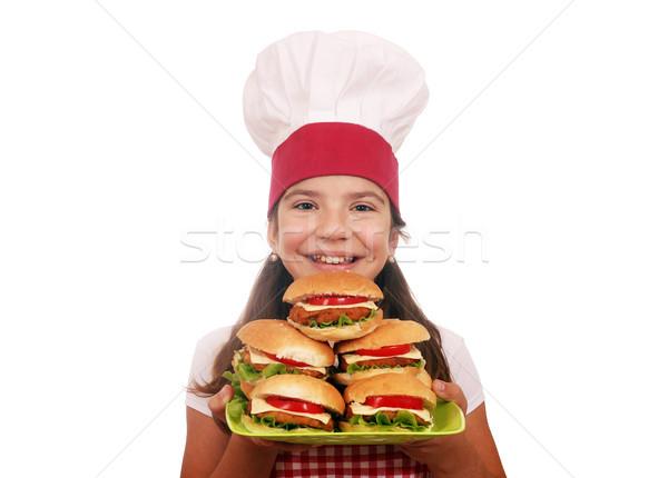 Felice bambina cuoco fast food ragazza Foto d'archivio © goce