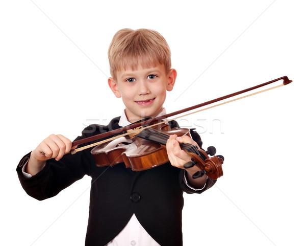 мальчика мало скрипач улыбка ребенка весело Сток-фото © goce