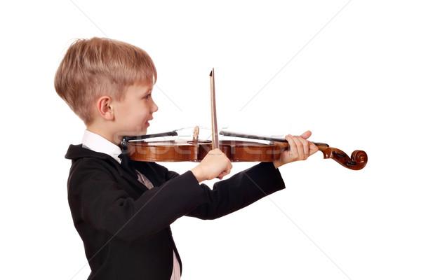 Fiú kicsi hegedűművész mosoly gyermek jókedv Stock fotó © goce