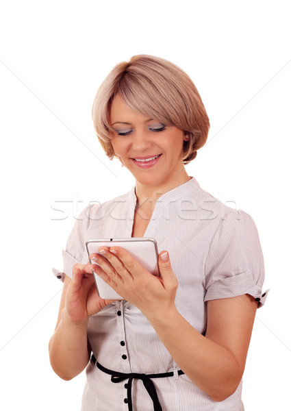 beautiful woman with tablet pc Stock photo © goce
