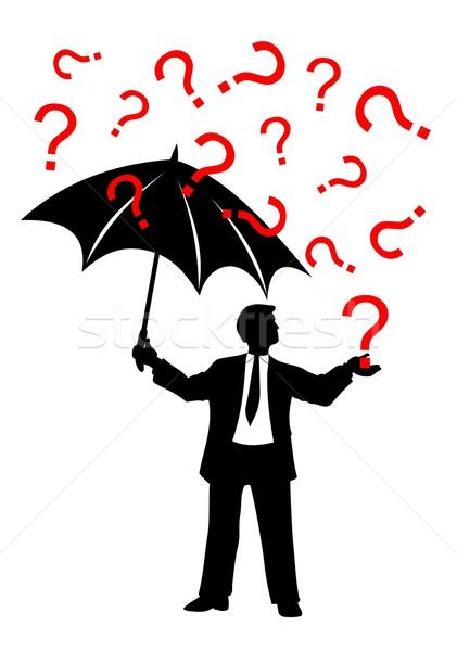 man with umbrella and question mark rain Stock photo © goce