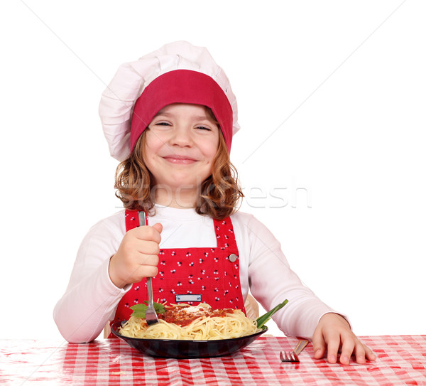 Gelukkig meisje kok eten spaghetti kinderen Stockfoto © goce
