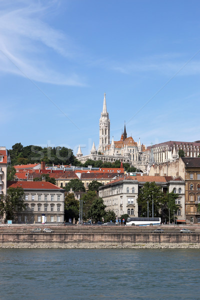 Fisherman bastion and buildings on Danube riverside Budapest Stock photo © goce