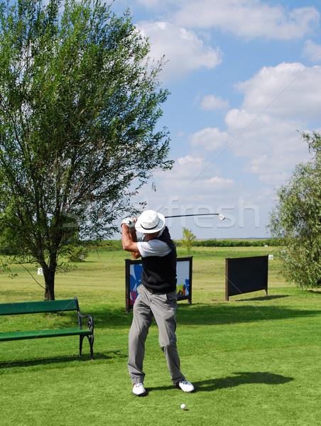 Senior jogador de golfe bola céu homem verde Foto stock © goce